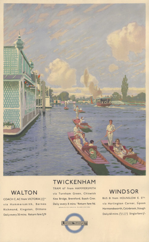 Twickenham, Walton and Windsor, Charles Pears, 1935 © TfL from the London Transport Museum collection http://www.ltmuseum.co.uk/