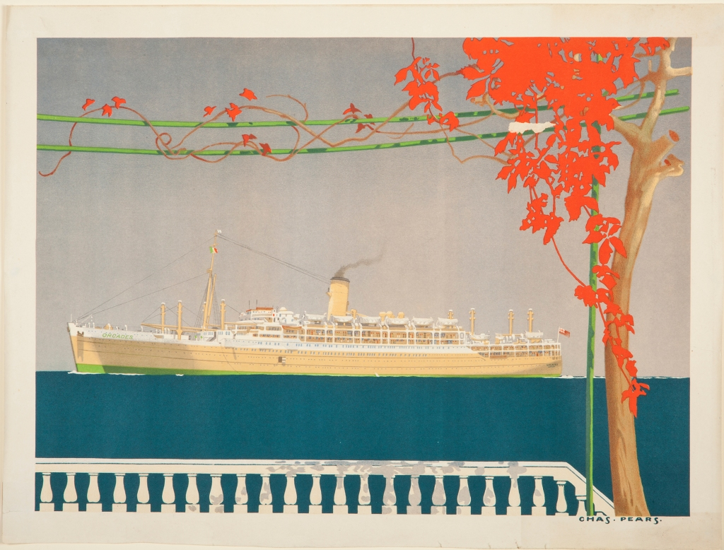 The New Liner 'Orcades', detail from poster, Orient Line, 1938. From the Wakefield Museums & Castles collection.